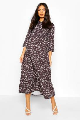boohoo Maternity Floral Print Midi Smock Dress