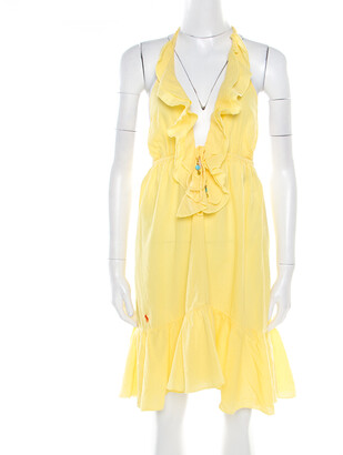 Ralph Lauren Yellow Crinkled Cotton Ruffled Halter Sundress M