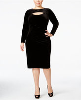 INC International Concepts Plus Size Velvet Cutout Sheath Dress, Only at Macy's