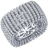 Lafonn Platinum Over Sterling Silver Simulated Diamond Micro Pave Wide Band
