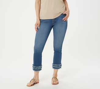 JEN7 by 7 For All Mankind Cropped Straight Jeans with Fringe