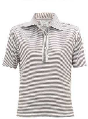 Giuliva Heritage Collection The Daphne Striped Cotton Polo Shirt - Light Brown