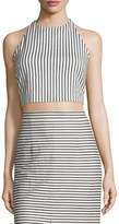 Alice + Olivia Jaymee Striped Cropped Halter Top, Black/White
