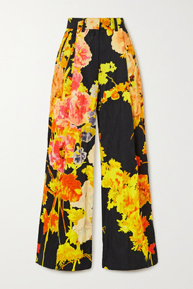 Dries Van Noten Floral-print Satin Wide-leg Pants - Black