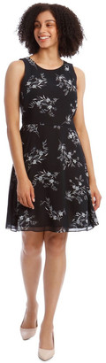 Basque Printed Soft Fit And Flare Dress