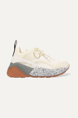 Stella McCartney Eclypse Neoprene-trimmed Faux Leather And Suede Sneakers - Beige