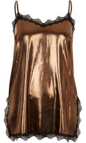 River Island Womens Gold metallic lace trim cami top