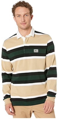Lacoste Long Sleeve Heavy Jersey Bold Strip/Color Block Rugby (Viennese/White/Black/Sinople) Men's Clothing
