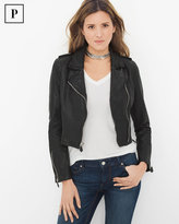 White House Black Market Petite Cropped Leather Moto Jacket