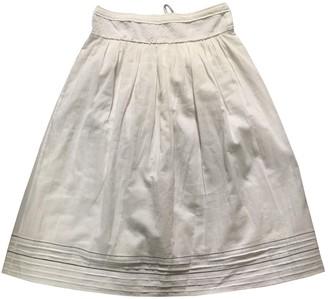 Swildens White Cotton Skirt for Women