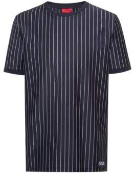 Relaxed-fit high-neck polo shirt in striped cotton