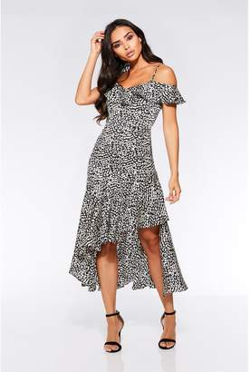 Quiz Black and White Leopard Cold Shoulder Frill Dress