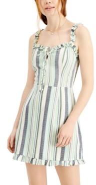 BeBop Juniors' Striped Ruffled Fitted Dress