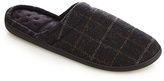 Totes Grey Checked Print 'pillowstep' Mule Slippers