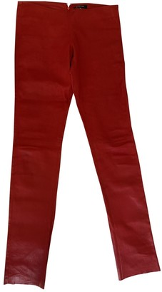 Jitrois Red Leather Trousers for Women