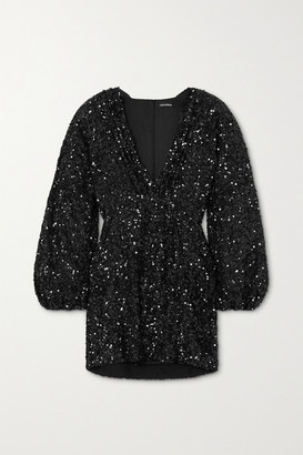 retrofete Aubrielle Sequined Chiffon Mini Dress - Black