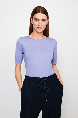 Karen Millen Merino Wool Short Sleeve Crew Neck Jumper