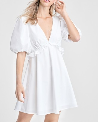 Express Emory Park Puff Sleeve V-Neck Mini Dress