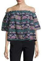 Romeo & Juliet Couture Embroidered Cropped Top
