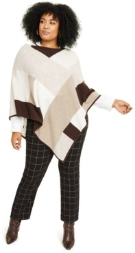 Charter Club Plus Size Cashmere Colorblocked Poncho, Created for Macy's