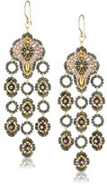 Miguel Ases Swarovski and Rose Gold Beaded Dangle Earrings