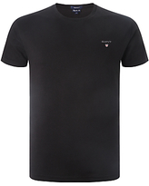 Gant Solid Cotton Crew Neck T-shirt, Black