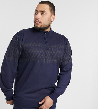 French Connection Plus fairisle half zip sweater