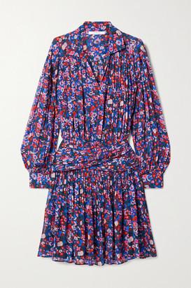 Derek Lam 10 Crosby Valou Pleated Floral-print Crepe De Chine Mini Dress - Purple