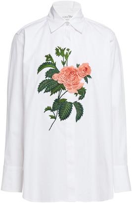 Oscar de la Renta Floral-appliqued Stretch-cotton Poplin Shirt