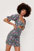 Thumbnail for your product : Nasty Gal Womens Cut Out Detail Floral Mini Tea Dress