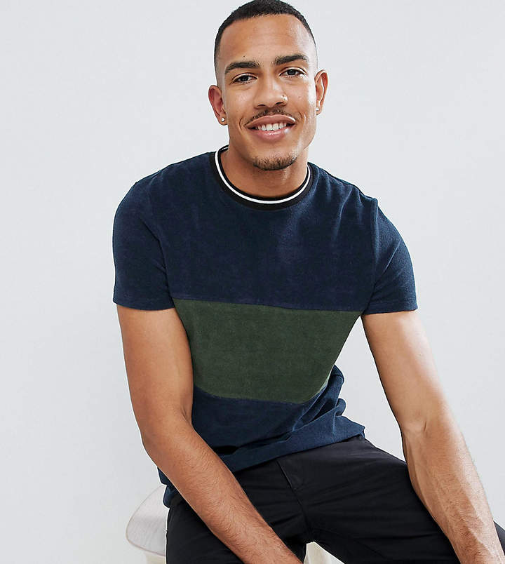Asos Design DESIGN Tall t-shirt in towelling with contrast body panel in navy