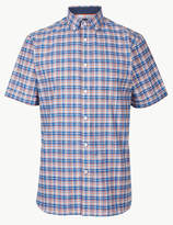 Blue HarbourMarks and Spencer Pure Cotton Checked Shirt