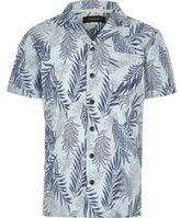 River Island Boys blue leaf print short sleeve shirt