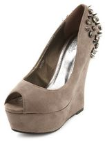 Charlotte Russe Spike-Back Sueded Wedge
