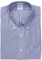 Brooks Brothers Collared Navy Stripe Long Sleeve Regent Classic Fit Shirt