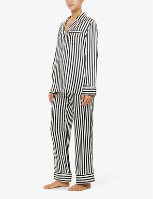 Olivia von Halle Lila Nika striped silk-satin pyjama set