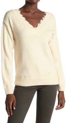 ALL IN FAVOR Lace Trim V-Neck Sweater