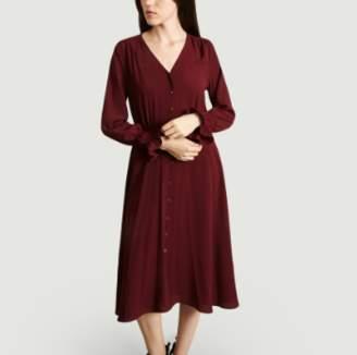 Jolie Jolie - Cherry Viscose Mid Length Buttoned Leah Dress - xs | viscose | cherry - Cherry