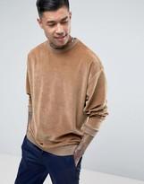 Asos Oversized Velour Sweatshirt In Beige
