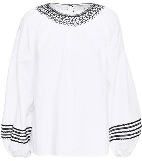Joie Ghada Embroidered Cotton-poplin Top