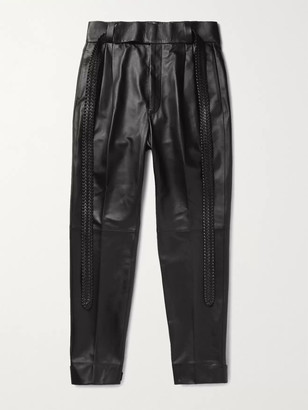Fear Of God For Ermenegildo Zegna Tapered Belted Pleated Leather Trousers