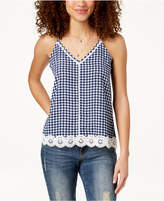Almost Famous Juniors' Gingham Crochet Tank Top