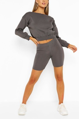 boohoo Jumper And Cycling Shorts Knitted Lounge Set