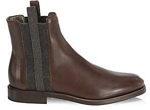 Brunello Cucinelli Women's Monili-Trim Leather Riding Boots
