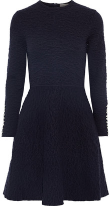 Lela Rose Flared Faux Pearl-embellished Cloque-knit Mini Dress