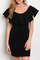 Black Bead Alexa Ruffle Dress