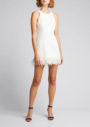 Cinq à Sept Catherine Crepe Mini Dress with Feather Trim