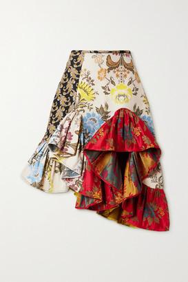 Marques Almeida Rem'ade By Asymmetric Ruffled Patchwork Brocade Skirt - Red