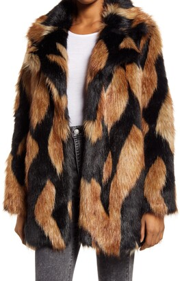Seven London Chevron Oversize Faux Fur Coat