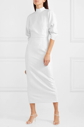 Emilia Wickstead Shari Open-back Sequined Chiffon Midi Dress - White